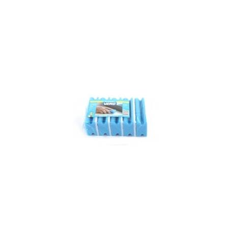 Schuurspons blauw/wit met handgreep per 5 stuks