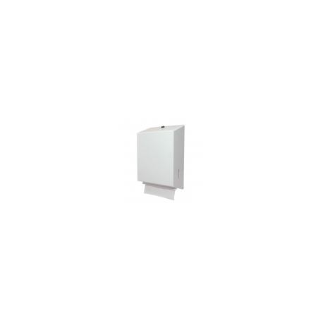 Handdoekdispenser, staal wit gemoffeld